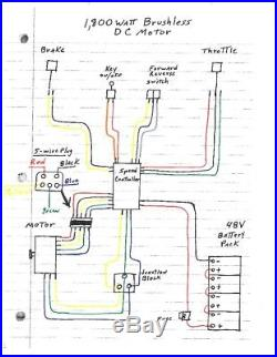 1800W 48V Brushless Motor Controller Throttle Wire Harness Batteries Reverse