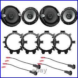 4 JVC CS-DR162 6.5 2-Way 300 Watt Car Speakers, Mounting Brackets, Wire Harness