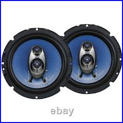 4x Pyle Car Audio 6.5'' 360 Watt 3-Way Speakers with Harnesses + Brackets, Wire