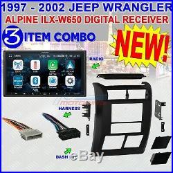 JEEP WRANGLER + TJ 97 & 2002 2DIN BEZEL + ALPINE iLX-W650 RADIO STEREO + HARNESS