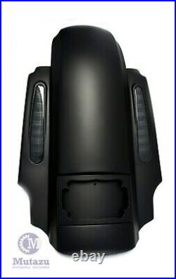 Matte Black CVO Dual Cut Extended Rear Fender with saddlebags package set 2014 up