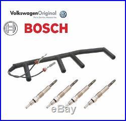OEM VW TDI Diesel Glow Plug Wiring Harness with (4) BOSCH Glow plugs