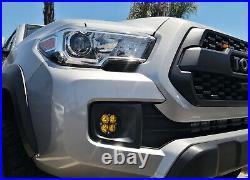 Yellow Lens LED Wide Angle SAE Flood Beam Fog Light Kit For 16-up Toyota Tacoma